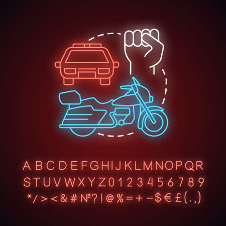 Motorcade neon light concept icon. Vehicles procession idea. Glowing sign with alphabet, numbers and symbols. Police car, motorcycle and fist vector isolated illustration. Presidential cortege Illusztráció