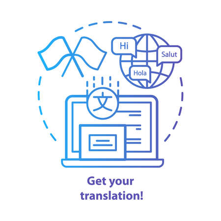 Get your translation blue concept icon. Online multilingual translator idea thin line illustration. Interpretation and spell check. Foreign language. Vector isolated outline drawing. Editable stroke