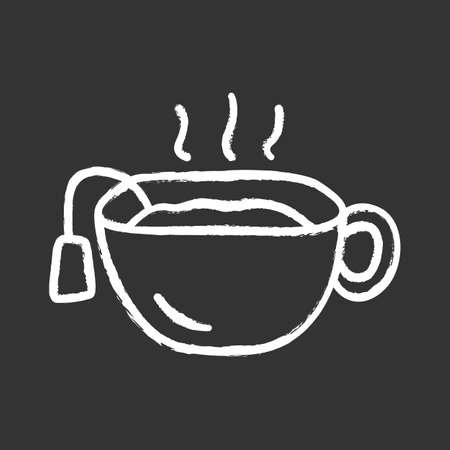 Hot tea cup chalk icon. Mug with warm delicious beverage isolated vector chalkboard illustration. Teatime break, breakfast symbol. Traditional british drink, national english refreshment Фото со стока - 129884262