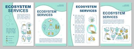 Diseño de plantilla de folleto de servicios del ecosistema. Recursos de la naturaleza. Flyer, folleto, diseño de impresión de folletos con ilustraciones lineales. Diseños de páginas vectoriales para revistas, informes anuales, carteles publicitarios
