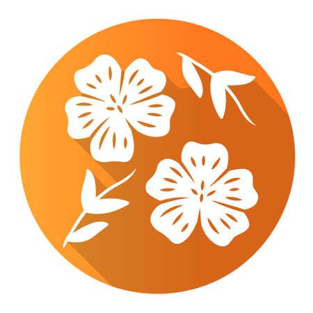 Blue flax plant orange flat design long shadow glyph icon. Linen wild flower. Spring blossom. Blooming linum wildflower. Vector silhouette illustration Ilustração