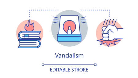 Vandalism concept icon. Civil unrest, public property damage, violent protest idea thin line illustration. Burning books, police siren and fist vector isolated outline drawing. Editable stroke