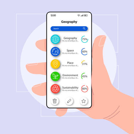 Geography textbook smartphone interface vector template. Mobile app page white design layout. Self-study tutorial screen. Flat UI for application. Hand holding phone with elearning tool on display