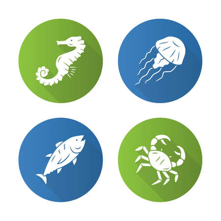 Sea animals flat design long shadow glyph icons set. Swimming tuna, crab, seahorse, jellyfish. Seafood restaurant menu. Marine fauna. Undersea world inhabitants. Vector silhouette illustration