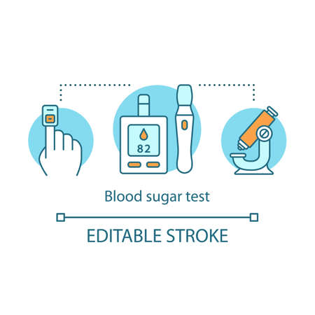 Blood sugar test concept icon. Controlling glucose level idea thin line illustration. Diabetic patients healthcare. Testing equipment, glucometer. Vector isolated outline drawing. Editable stroke Banco de Imagens - 129884379