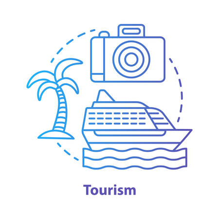 Tourism blue concept icon. Hospitality industry idea thin line illustration. Journey, travel. Touristic agency service. Trip advisor. Summer holidays. Vector isolated outline drawing. Editable stroke