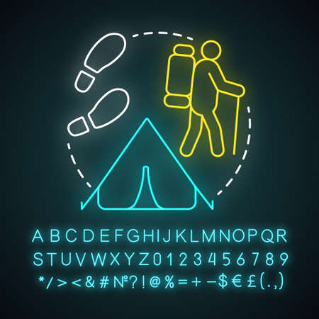 Nomadic lifestyle neon light concept icon. Moving from place to place idea. Migration, living with no permanent residence. Glowing sign with alphabet, numbers and symbols. Vector isolated illustration