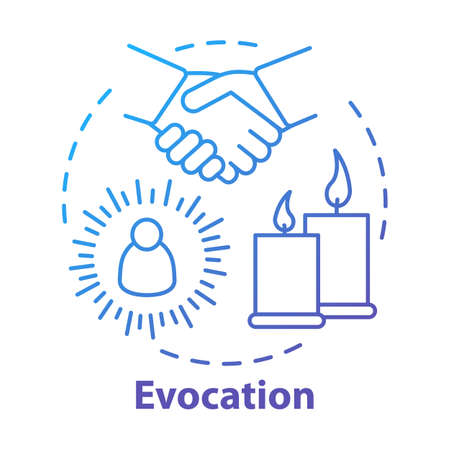 Evocation concept icon. Spiritualistic session, divination service. Occultism and superstition idea thin line illustration. Candles and hands vector isolated outline drawing. spirits conjuration