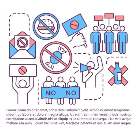 Boycott article page vector template. Voluntary abstention brochure, magazine, booklet design element with linear icons and text boxes. Protest print design. Concept illustrations with text space
