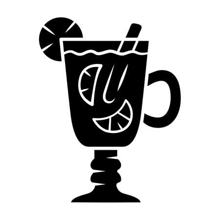 Hot toddy glyph icon. Hot whiskey in Irish coffee glass. Beverage with lemon slices and cinnamon stick in footed tumbler with handle. Silhouette symbol. Negative space. Vector isolated illustration Фото со стока - 129884539