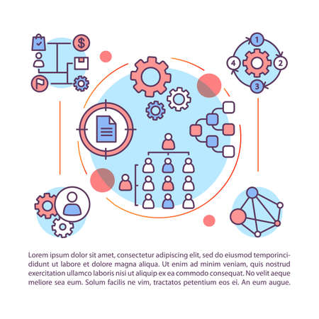 Corporate structure article page vector template. Hierarchical organization. Company staff interactions. Brochure, magazine, booklet element with icons and text. Print design. Concept illustrations