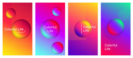 Colorful life social media stories duotone template set. Optimistic and positive thinking quote gradient web banner with fluid 3d shapes. Modern mobile app organic design. Blending colors mockup pack 矢量图像