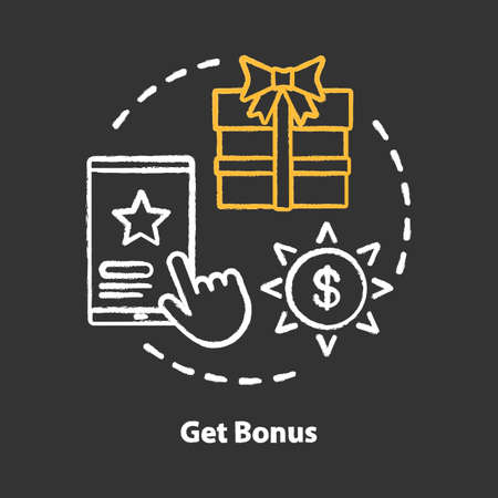 Get bonus chalk concept icon. Gifts & prizes idea. Cashback, redeem points. Reward program. Discounts and special offers. Vector isolated chalkboard illustration Фото со стока - 129884776