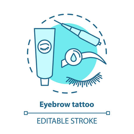Eyebrow tattoo blue concept icon. Eye brows and eyelashes tinting, permanent makeup idea thin line illustration. Cosmetology salon, beauty parlor. Vector isolated outline drawing. Editable stroke Vettoriali