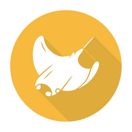 Skate yellow flat design long shadow glyph icon. Swimming stingray. Oceanarium animal. Electric ramp. Underwater creature, aquatic fish. Undersea inhabitant. Sea fauna. Vector silhouette illustration