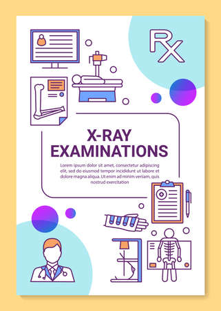 X-ray examination brochure template layout. Radiological survey. Hospital equipment. Flyer, booklet, leaflet print design, linear illustrations. Vector page layouts for reports, advertising posters