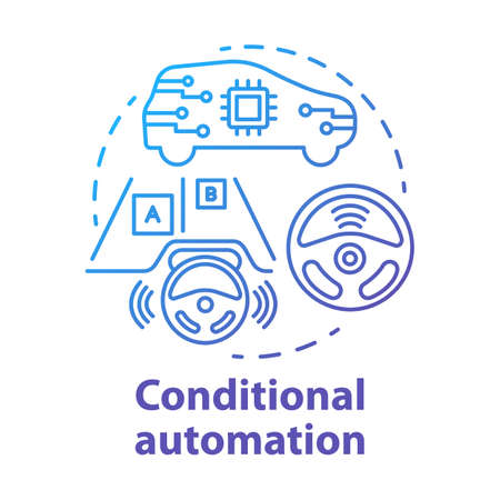 Conditional automation concept icon. Adaptive cruise control. Car with autonomous features. System for safe driving idea thin line illustration. Vector isolated outline drawing. Editable stroke