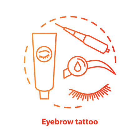 Eyebrow tattoo blue concept icon. Eye brows and eyelashes tinting, permanent makeup idea thin line illustration. Microblading. Red gradient vector isolated outline drawing. Editable stroke Archivio Fotografico - 129884782