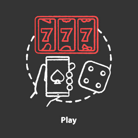 Play chalk concept icon. Slots machine, one armed bandit games idea. Gambling addiction. Games of chance. Mobile casino and betting. Vector isolated chalkboard illustration Фото со стока - 129884785