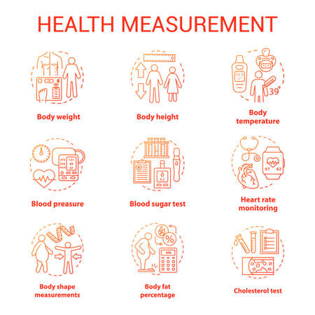 Body measuring tools concept icons set. Weight, height check idea thin line illustrations. Monitoring cardiological parameters, heart rate, pulse. Vector isolated outline drawings. Editable stroke Banco de Imagens - 129884789