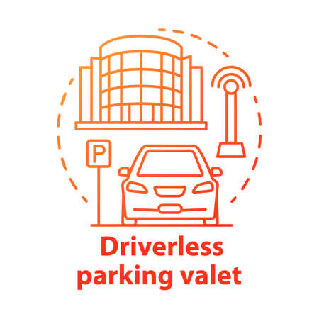 Driverless parking valet concept icon. Smart parking technology. City car-park. Stand for robotic vehicles idea thin line illustration. Vector isolated outline drawing. Editable stroke Illustration