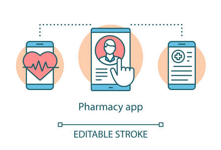 Pharmacy app concept icon. Online doctor consultation, medical advice idea thin line illustration. Clinic website. Practitioner appointment booking. Vector isolated outline drawing. Editable stroke