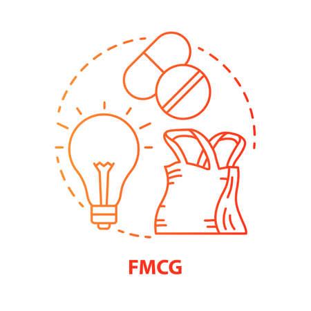 Icône de concept rouge FMCG. Illustration de fine ligne d'idée de biens de consommation en mouvement rapide. Produits à bas prix et rapidement vendus. Gestion de l'industrie du marché. Dessin de contour isolé de vecteur. Trait modifiable