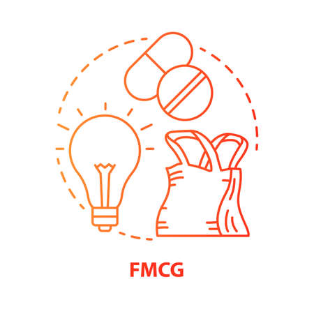 Icona di concetto rosso FMCG. Illustrazione al tratto sottile di idea di beni di consumo in rapido movimento. Prodotti a basso costo e venduti rapidamente. Gestione del settore del mercato. Disegno di assieme isolato vettoriale. Tratto modificabile