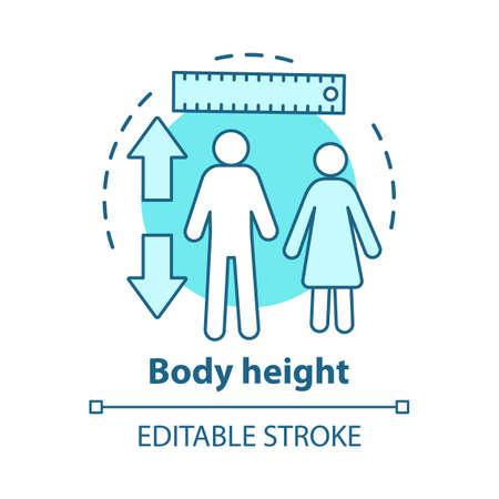 Body height parameters concept icon. Checking growth rate with measuring tools idea thin line illustration. Controlling male, female height. Vector isolated outline drawing. Editable stroke