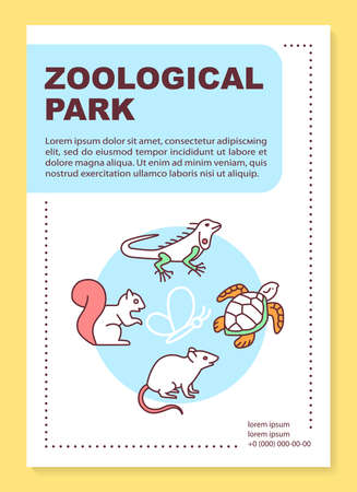 Zoological park poster template layout. Reptiles. Wild animals. Nature fauna. Banner, booklet, leaflet print design with linear icons. Vector brochure page layouts for magazines, advertising flyers Stock Illustratie