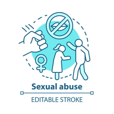 Sexual abuse concept icon. Domestic violence, harassment against women idea thin line illustration. Sex crime. Sexual slavery, assault, rape awareness. Vector isolated outline drawing. Editable stroke Иллюстрация