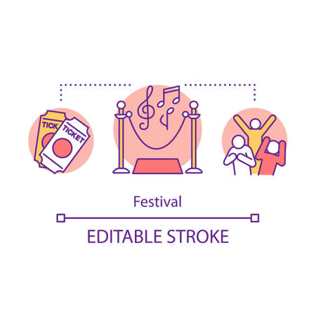 Festival concept icon. Music event idea thin line illustration. Theater performance. Cultural celebration. Event agency. Disco and alcohol. Vector isolated outline drawing. Editable stroke