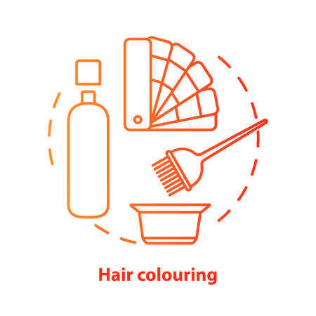 Hair colouring blue concept icon. Hair highlighting and dyein idea thin line illustration. Hairdresser salon, hairstylist parlor. Red gradient vector isolated outline drawing. Editable stroke Illustration