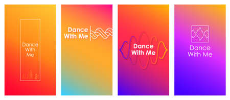 Dance with me social media stories duotone template set. Gradient inspirational web banner, content layout. Modern vibrant mobile music player app design. Blending colors with sound waves mockup pack