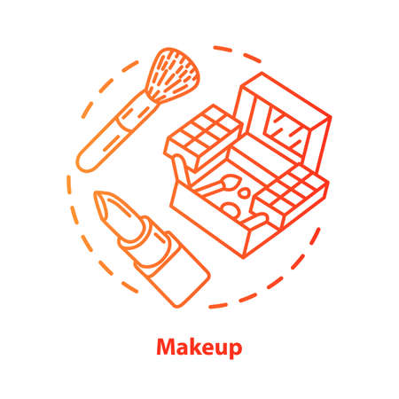 Makeup blue concept icon. Make up artist kit, equipment idea thin line illustration. Eye shadows, lipstick red gradient vector isolated outline drawing. Cosmetics, beauty products. Editable stroke