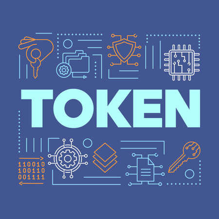 Crypto token word concepts banner. Data encryption and fintech. Presentation, website. Blockchain digital regulation. Isolated lettering typography idea with linear icons. Vector outline illustration