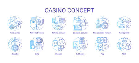 Casino concept icons set. Online games of chance and bonuses idea thin line illustrations. Slot machines, card games, roulette. Gambling. Vector isolated outline drawings pack Ilustração
