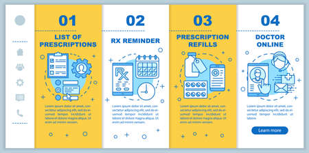 Online pharmacy, service onboarding mobile web pages vector template. Responsive smartphone website interface idea with linear illustrations. Webpage walkthrough step screens. Color concept Vektorové ilustrace
