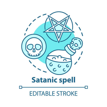 Satanic spell concept icon. Witchcraft and alchemy idea thin line illustration. Dark arts ritual, diabolic curse. Pentagram, skull and magic potion vector isolated outline drawing. Editable stroke