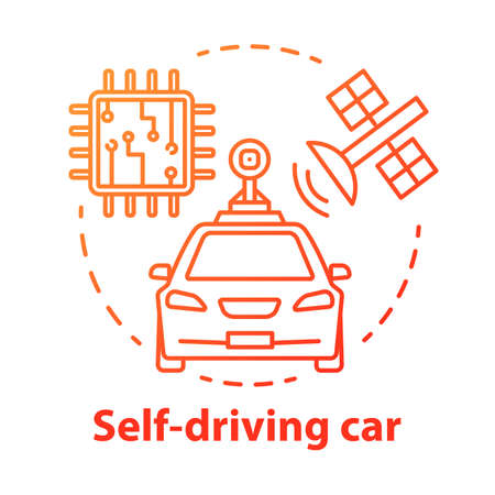 Self-driving car concept icon. Driverless, robotic automobile. Auto, microchip, satellite. Autonomous smart vehicle idea thin line illustration. Vector isolated outline drawing. Editable stroke