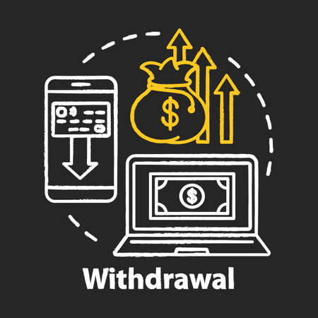 Money withdrawal chalk concept icon. Savings idea. Claiming profits from investment. Getting interest from deposit, bank account. Financial services. Vector isolated chalkboard illustration