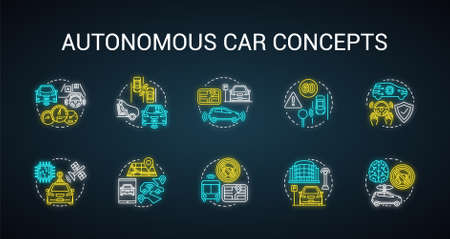 Autonomous car neon light concept icons set. Car robotic features. Driverless vehicles. Intelligent auto idea. Glowing sign with alphabet, numbers and symbols. Vector isolated illustration