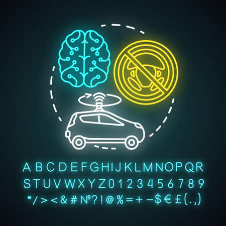 Fully autonomous neon light concept icon. Car driven by artificial intelligence. Autopilot system. Driverless car idea. Glowing sign with alphabet, numbers and symbols. Vector isolated illustration
