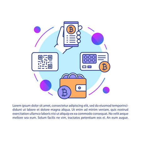 Bitcoin wallet article page vector template. Virtual money payment. Banking app service. Brochure, magazine, booklet design element with linear icons and text. Print design. Concept illustrations