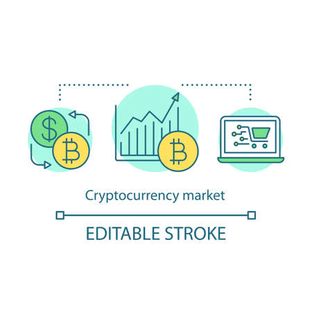 Cryptocurrency market concept icon. Electronic money trading idea thin line illustration. Digital currency exchange. Stock market graph. Vector isolated outline drawing. Editable stroke