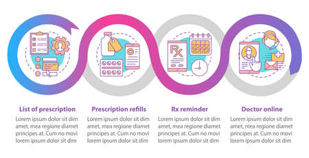 Online pharmacy vector infographic template. Business presentation design elements. Data visualization with four steps and options. Process timeline chart. Workflow layout with linear icons Illustration