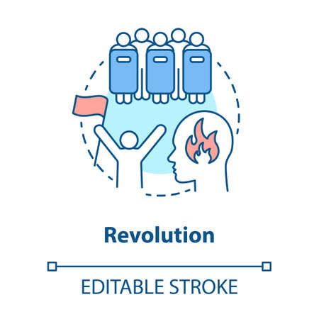 Revolution concept icon. Civil unrest, conflict idea thin line illustration. Revolutionary with flag and riot police with shields vector isolated outline drawing. Political uprising. Editable stroke