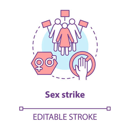 Sex strike concept icon. Sexual abstinence, feminism idea thin line illustration. Women with placards vector isolated outline drawing. Gender discrimination protest, girl power. Editable stroke 向量圖像