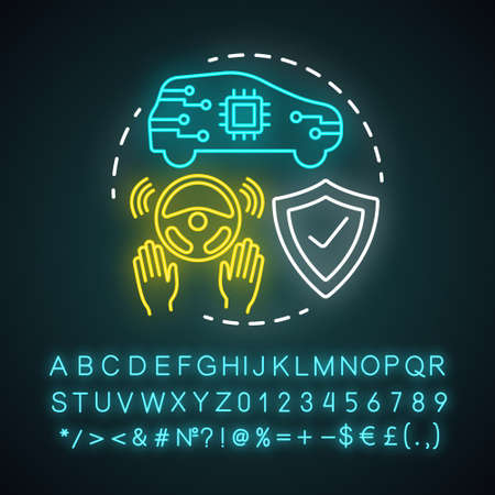 Steering assist neon light concept icon. Smart car. Steering support. Driverless vehicle. Safe driving autopilot idea. Glowing sign with alphabet, numbers and symbols. Vector isolated illustration