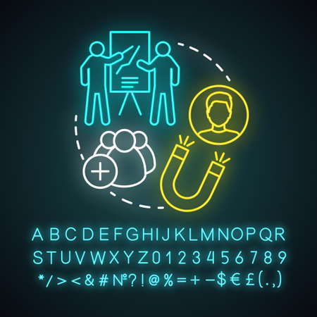 Trade show neon light concept icon. Trade fair idea. Product launch event. Promotional campaign. Customer attraction. Marketing presentation. Glowing alphabet, numbers and symbols. Vector illustration
